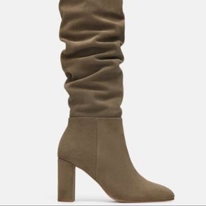 Zara High Heeled Leather Boots Taupe Gray